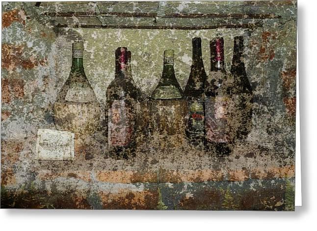 Vintage Wine Bottles - Tuscany  Greeting Card by Jen White