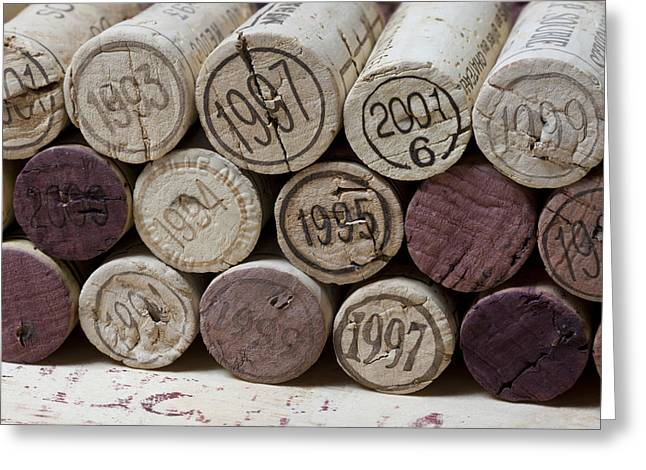 Wine Prints Greeting Cards - Vintage Wine Corks Greeting Card by Frank Tschakert