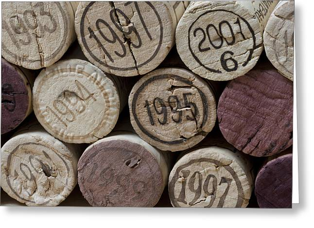 Vintage Wine Corks Square Greeting Card by Frank Tschakert