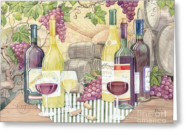 Purple Grapes Greeting Cards - Vintage Wine II Greeting Card by Paul Brent