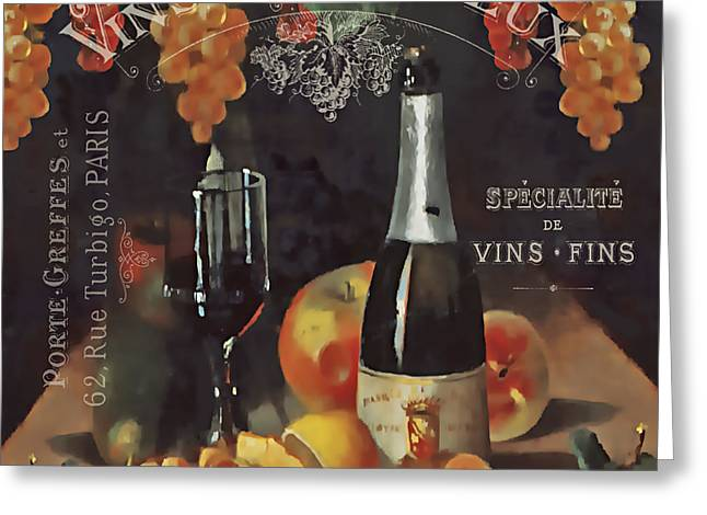 Pinot Noir Digital Greeting Cards - Vintage Wine-JP3187 Greeting Card by Jean Plout