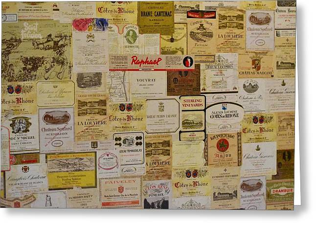 Chateau Greeting Cards - Vintage Wine Labels 1 Greeting Card by Linda Brody