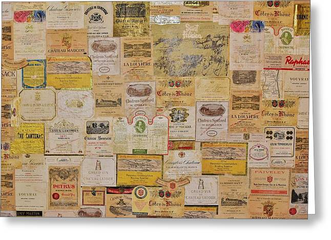 Chateau Greeting Cards - Vintage Wine Labels 2 Greeting Card by Linda Brody