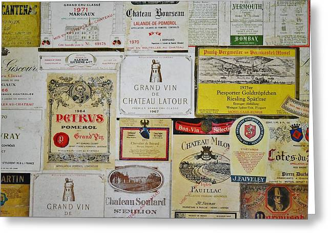 Chateau Greeting Cards - Vintage Wine Labels 3 Greeting Card by Linda Brody