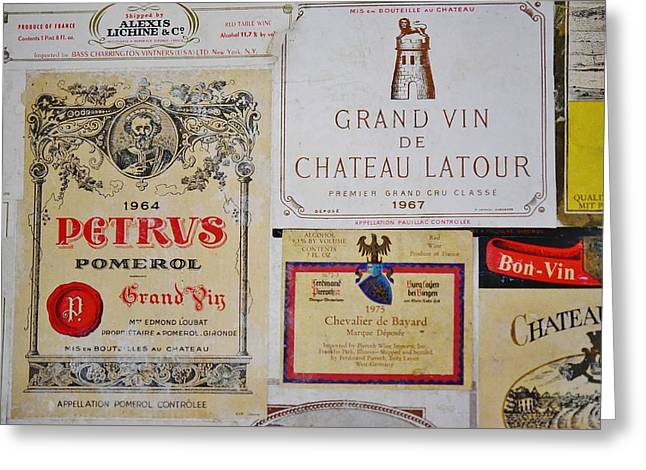 Chateau Greeting Cards - Vintage Wine Labels 4 Greeting Card by Linda Brody