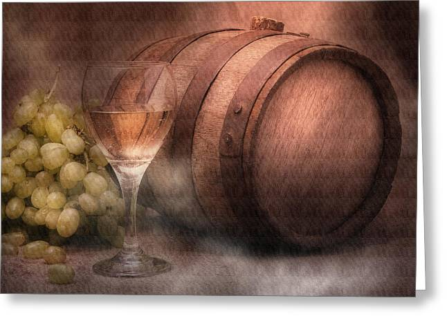 White Grape Greeting Cards - Vintage Wine Greeting Card by Tom Mc Nemar