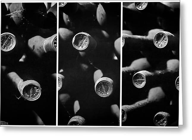 Wine Bottle Images Greeting Cards - Vintage Wine Triptych Panel Greeting Card by Nomad Art And  Design