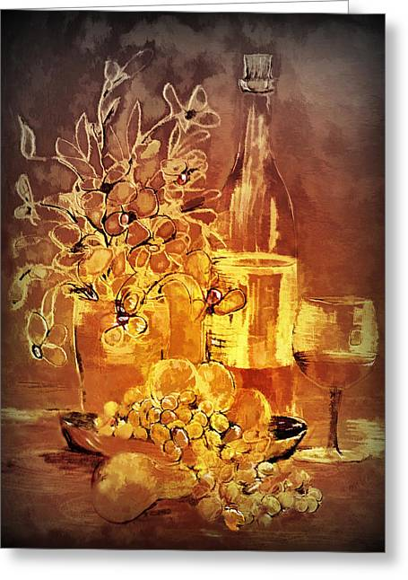 Kelly Greeting Cards - Vintage wine Greeting Card by Valerie Anne Kelly