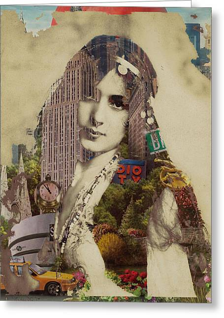 Times Square Mixed Media Greeting Cards - Vintage Woman Built By New York City 1 Greeting Card by Tony Rubino