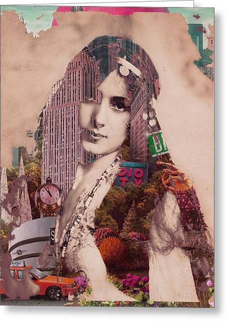Times Square Mixed Media Greeting Cards - Vintage Woman Built By New York City 2 Greeting Card by Tony Rubino