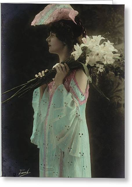 Multicultural Greeting Cards - Vintage Woman In Gown Holding Lilies Greeting Card by Ink and Main