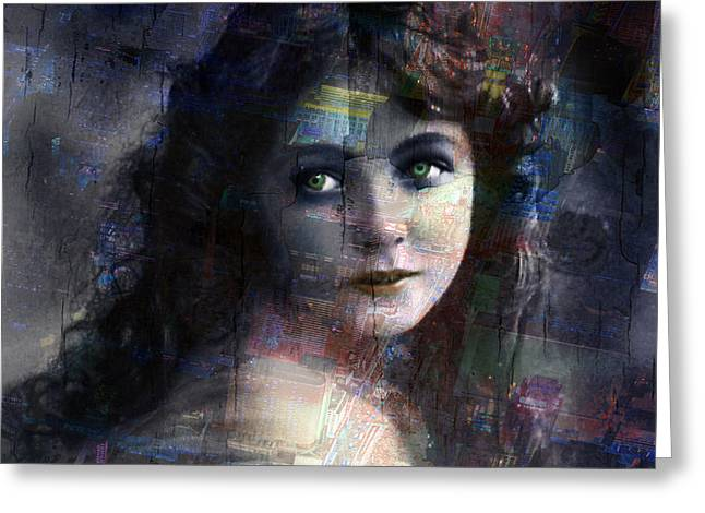 Times Square Mixed Media Greeting Cards - Vintage Woman Pop With Modern Highlights Blue Square Greeting Card by Tony Rubino