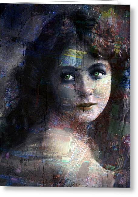 Technical Mixed Media Greeting Cards - Vintage Woman Pop With Modern Highlights Blue Vertical  Greeting Card by Tony Rubino