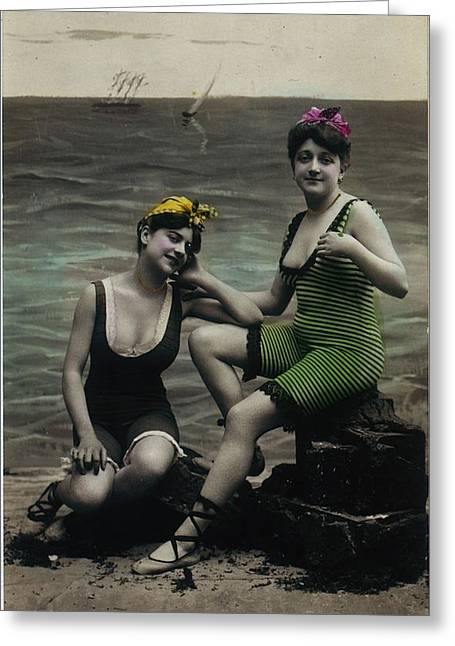 Swimsuit Greeting Cards - Vintage Women In Swimsuits Sitting Greeting Card by Gillham Studios
