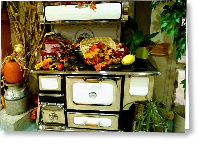 Harvest Time Greeting Cards - Vintage Wood Stove Greeting Card by Will Borden