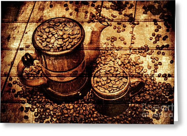 Vintage Wooden Coffee Shop Sign Greeting Card by Jorgo Photography - Wall Art Gallery