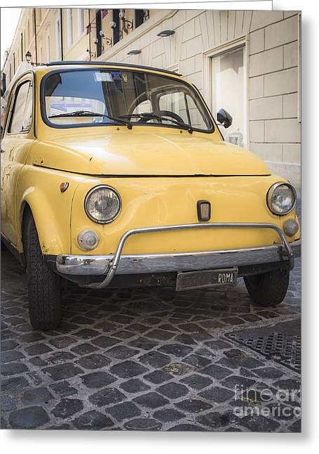 Classic Fiat Greeting Cards - Vintage Yellow Fiat 500 in Rome Greeting Card by Edward Fielding