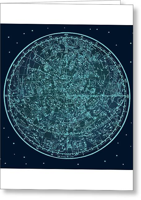 Vintage Zodiac Map - Teal Blue Greeting Card by Marianna Mills