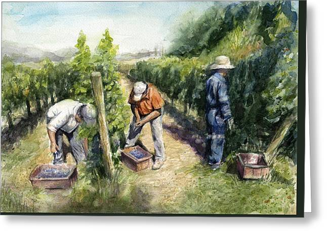 Wine Lovers Greeting Cards - Vinyard Watercolor Greeting Card by Olga Shvartsur