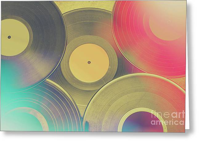 Vinyl Recordings Background Greeting Card by Jorgo Photography - Wall Art Gallery