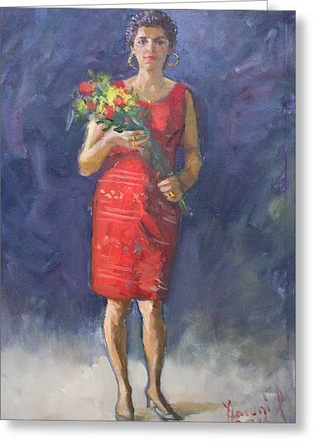 Viola In Red Greeting Card by Ylli Haruni