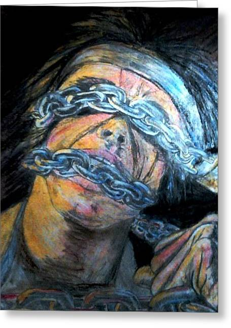 Chains Pastels Greeting Cards - Violent Rage 1985 Greeting Card by Douglas Kriezel