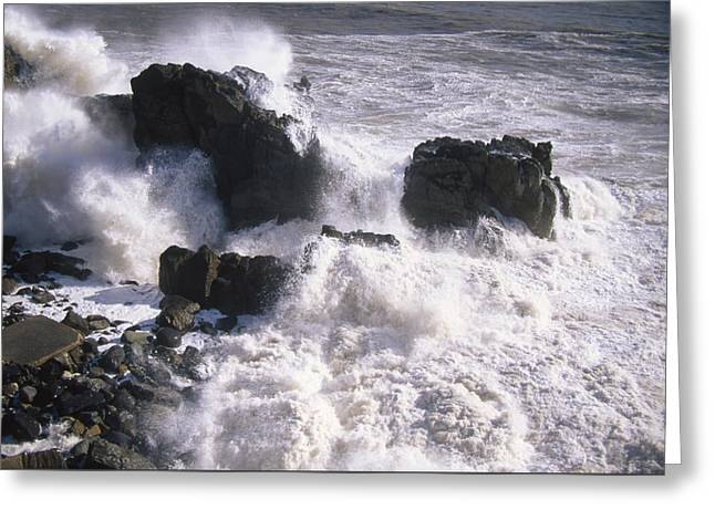 Violent Surf - El Nino Greeting Card by Soli Deo Gloria Wilderness And Wildlife Photography