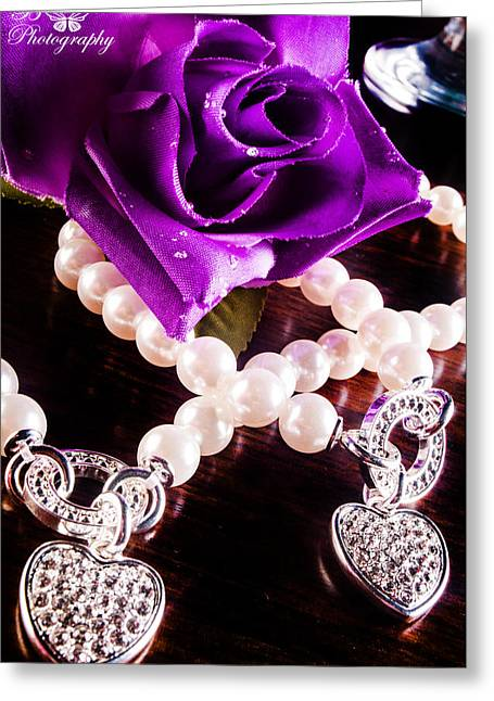 Heart Jewelry Greeting Cards - Violet Greeting Card by Adianez Carrillo