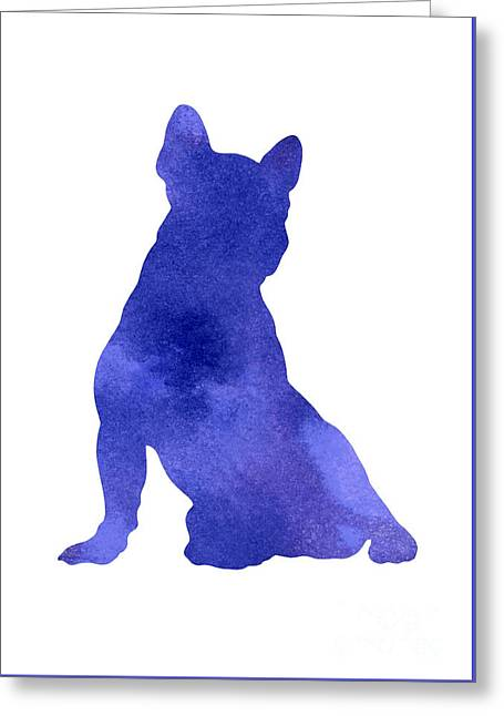 Violet French Bulldog Watercolor Art Print Painting Greeting Card by Joanna Szmerdt