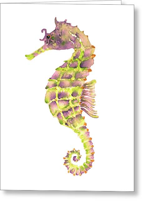 Violet Green Seahorse Greeting Card by Amy Kirkpatrick