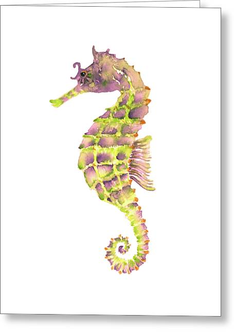 Violet Green Seahorse - Square Greeting Card by Amy Kirkpatrick