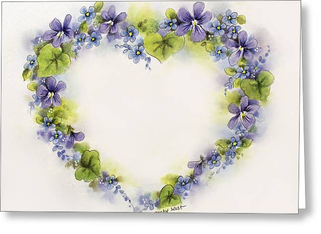 Violet Heart Greeting Card by Becky West