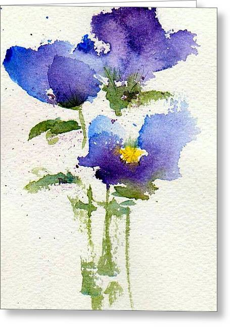 Pansies Greeting Cards - Violets Greeting Card by Anne Duke
