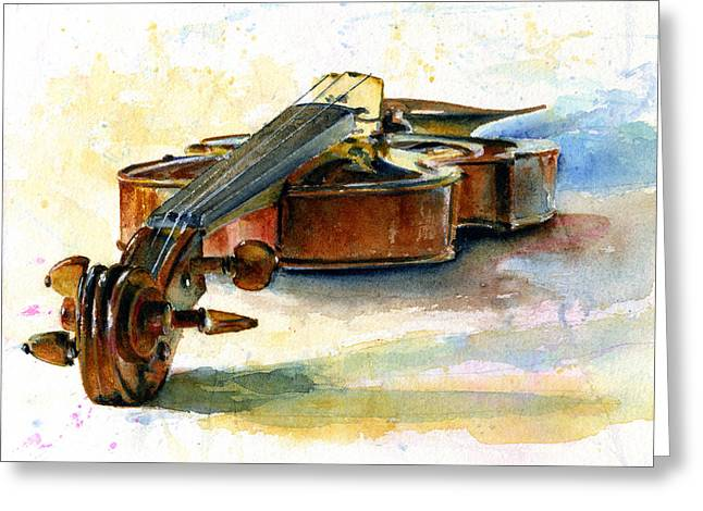 Violin 2 Greeting Card by John D Benson