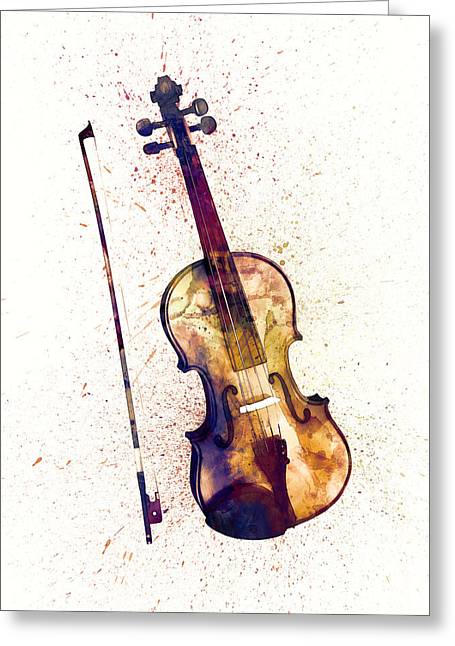 String Art Greeting Cards - Violin Abstract Watercolor Greeting Card by Michael Tompsett