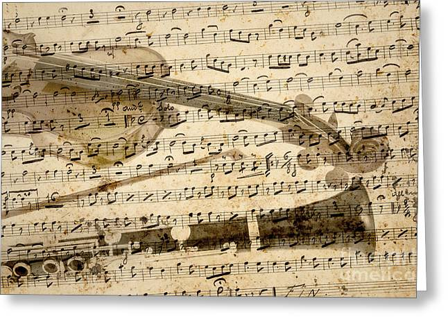 Musical Imagery Greeting Cards - Violin and clarinet musical note background Greeting Card by Gregory DUBUS