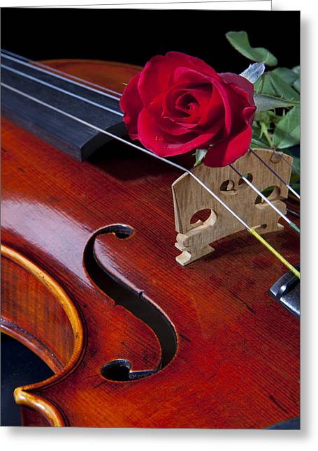 Student Art Greeting Cards - Violin and Red Rose Greeting Card by M K  Miller