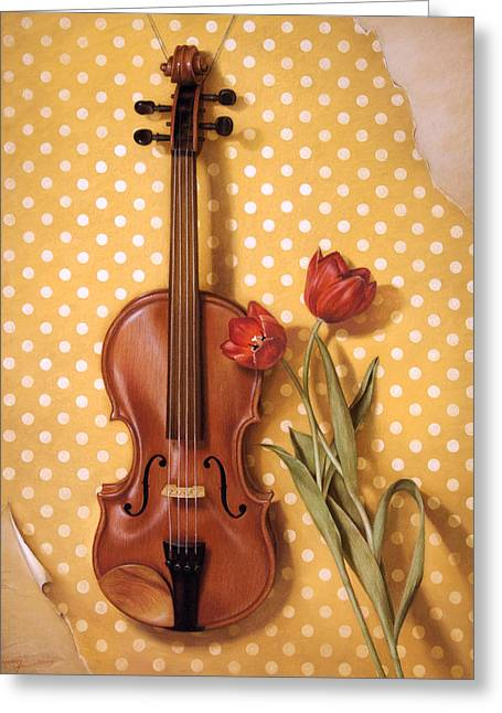 Live Music Pastels Greeting Cards - Violin and Tulips  Greeting Card by Cuong Nguyen