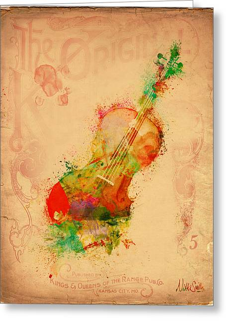 Siren Art Greeting Cards - Violin Dreams Greeting Card by Nikki Marie Smith