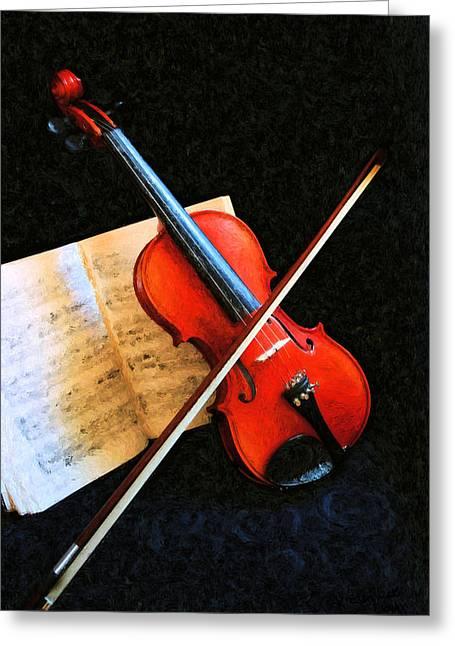 Violin Impression Greeting Card by Kristin Elmquist