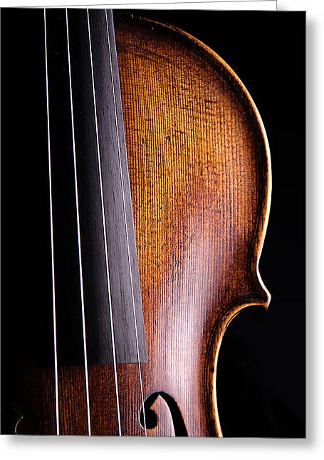 Mac K Miller Greeting Cards - Violin Isolated on Black Greeting Card by M K  Miller