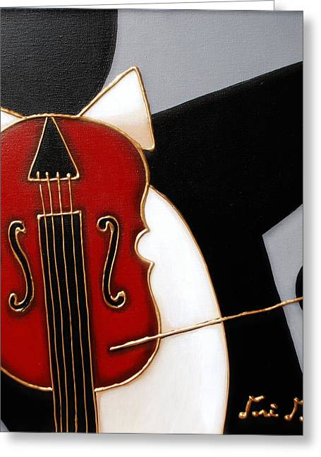 All That Jazz Greeting Cards - Violin Greeting Card by Lori McPhee
