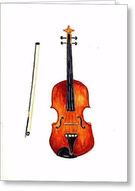 Violin Greeting Card by Michael Vigliotti
