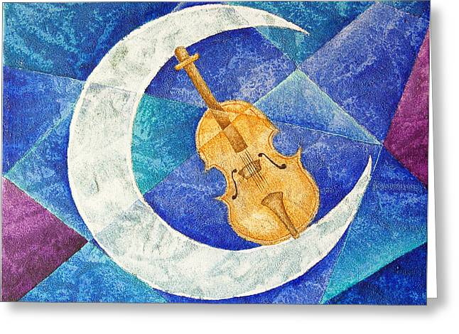 Violin-moon Greeting Card by Son  Of the Moon