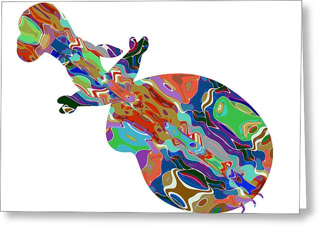 Lute Mixed Media Greeting Cards - Violin Music Instrument Graphic Abstract Design Colorful Art Greeting Card by Navin Joshi