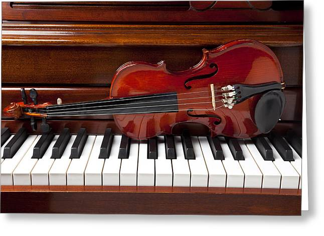 Keyboard Photographs Greeting Cards - Violin on piano Greeting Card by Garry Gay