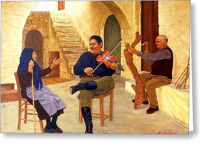 Violin Player Drawings Greeting Cards - Violin Player Greeting Card by Nektarios Gonalakis