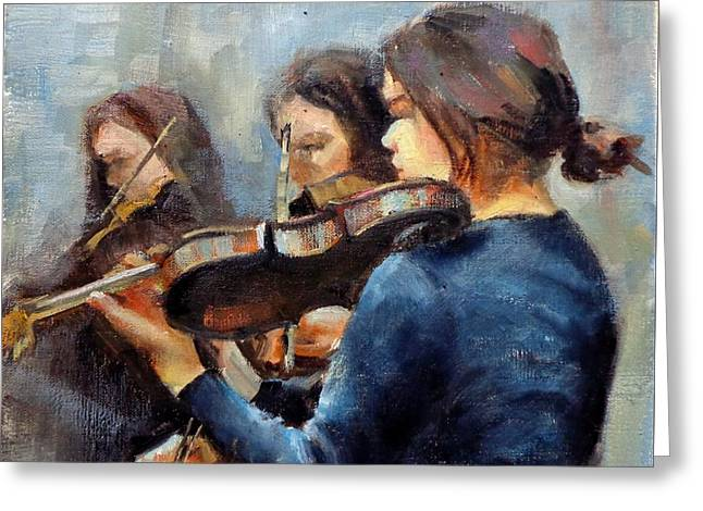 Donna Shortt Greeting Cards - Violin Practice Greeting Card by Donna Shortt