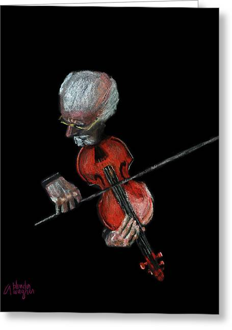 Instruments Pastels Greeting Cards - Violin Virtuoso Greeting Card by Arline Wagner