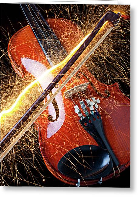 Spark Greeting Cards - Violin with sparks flying from the bow Greeting Card by Garry Gay